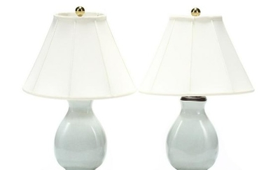 Speer, Pair of Contemporary Celadon Glazed Table Lamps