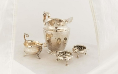 Sterling Water Pitcher, Sauce Boat & Master Salts