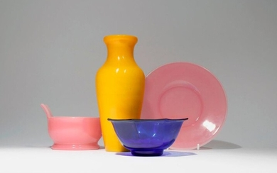 THREE CHINESE BEIJING GLASS ITEMS LATE QING DYNASTY Comprising: an opaque yellow glass ovoid vase, a transparent blue glass octagonal-section flaring bowl, and a translucent pale pink glass incense burner and stand, 20.8cm max. (4) Provenance: from a...