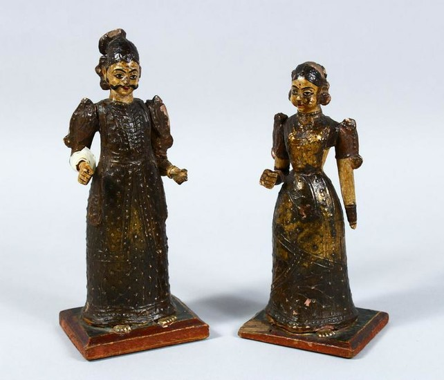 TWO INDIAN KASHMIRI / MUGHAL CARVED WOOD & LACQUER