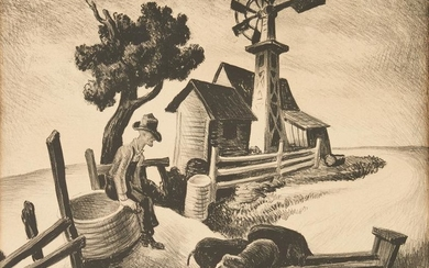 Thomas Hart Benton Signed Lithograph, In The Ozarks