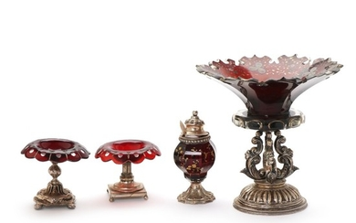 Three Bohemian glass and silver and silverplated centrepieces and a mustard glass. Germany, Denmark, 19th century. H. 7,5–20 cm. (4)