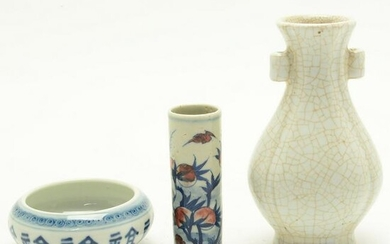 Three Chinese Porcelain Items, Including Crackle Glaze