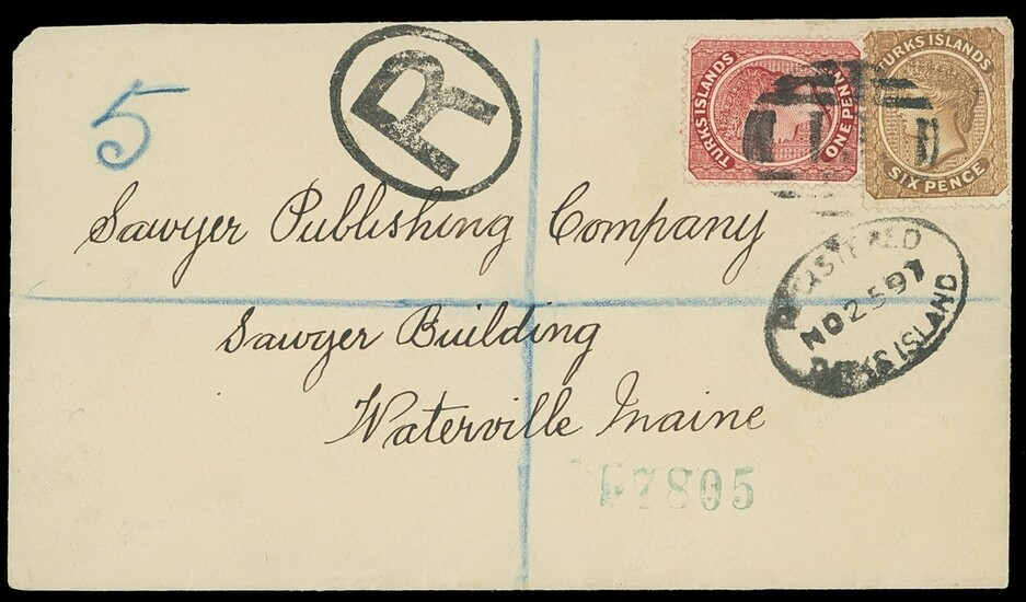 Turks Islands 1897 (25 Nov.) cover registered to Maine, U.S.A. bearing 1d. crimson lake and 6d...