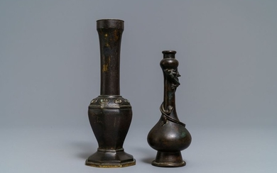 Two Chinese bronze vases, Ming