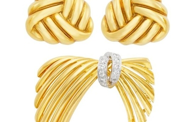 Two-Color Gold and Diamond Bow Brooch and Pair of Gold Knot Earclips