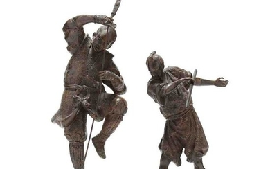 Two Japanese Bronze Samurai Warriors