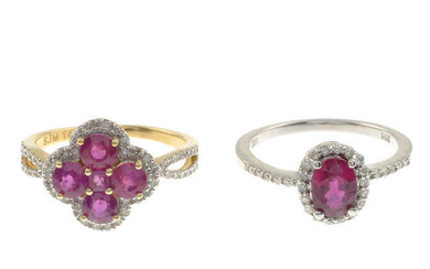 Two glass-filled ruby and diamond dress rings.