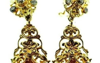 VINTAGE 14k Yellow Gold, Diamond & Amethyst Dangle Drop