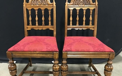 Vintage Intricately Carved Wooden Side Chairs