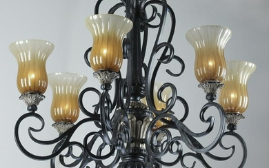Wrought iron 6-light chandelier w/ glass shades