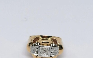 "Yellow gold and diamond ""French"" ring"