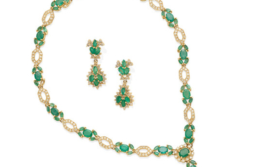 an emerald and diamond necklace and ear pendants