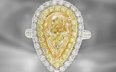 ring/pendant: very high quality, very special multi-functional ring/pendant with valuable coloured drop diamond of 5ct and rich brilliant-cut diamonds, like new, GIA-Report