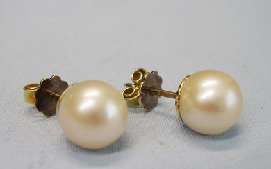 14 kt. Akoya pearls, Yellow gold, 9.0 mm to 9.2 mm - Earrings white cultured Akoya pearls
