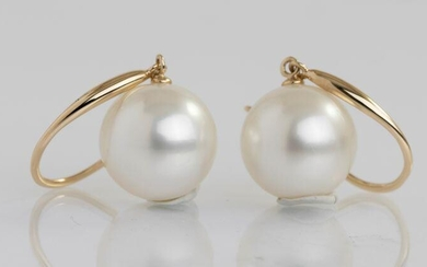 14 kt. Yellow Gold - 10x11mm Round South Sea Pearls