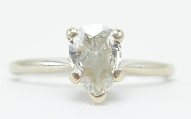14 kt gold and pear shape diamond solitaire engagement