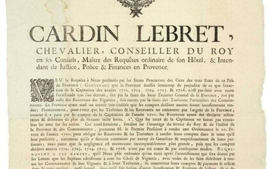 """1707. PROVENCE """"CARDIN LEBRET, Knight, King's Counsellor,... & Intendant in Provence"""" (Heading, Vignette & Lettrine). Order made at AIX (13) on February 1, 1707, on the request of the Public Prosecutors of the People of the three States of this..."""