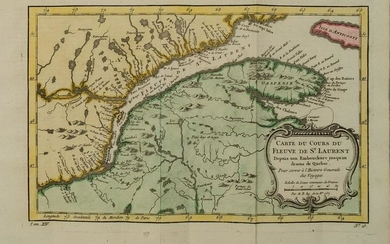 1754 Bellin Map of Saint Lawrence River From Quebec --