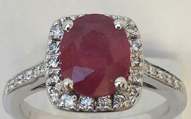 18 kt. White gold - Ring, 3 carats Ruby - Diamonds