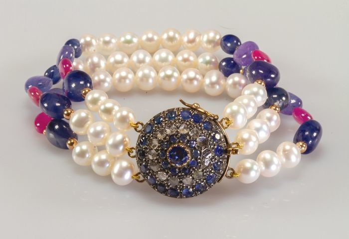 18 kt. Yellow gold - Bracelet - Diamonds, Pearls, Rubys, Sapphires