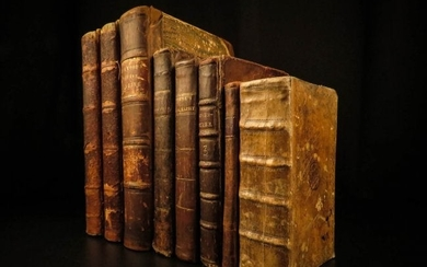 1800 8 Book Lot Leather Binding Religion Prose Verse