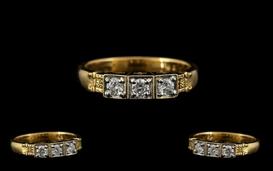 18ct Gold - Attractive and Quality 3 Stone Diamond Ring of E...