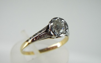 18ct TOC era Diamond Solitaire ring with old cut Diamond .40...