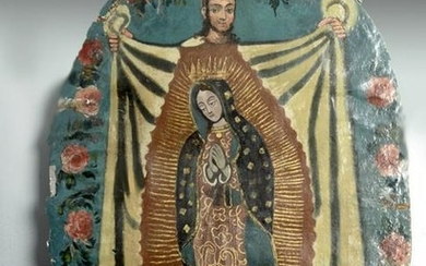 19th C. Mexican Retablo on Canvas, Virgin of Guadalupe