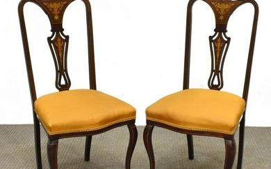 (2) ENGLISH MAHOGANY SIDE CHAIRS W/ BRASS INLAY