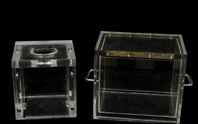 (2 Pc) Vintage Lucite Box