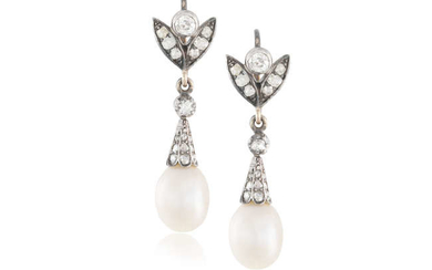 Description A PAIR OF LATE 19TH CENTURY NATURAL PEARL...