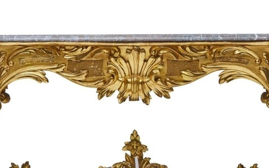 515-Middle table in stuccoed, lacquered and gilded carved wood with...