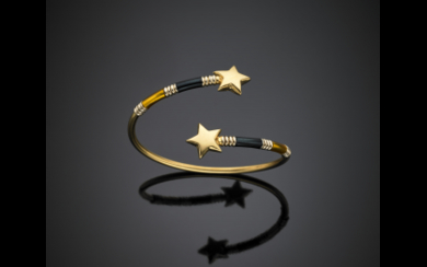 Yellow and white gold crossover star bangle accented with...