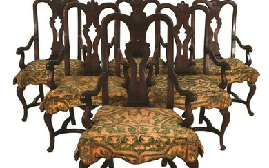 6 18th century Venetian walnut armchairs