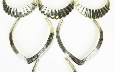 6 Indian Etched Silver Tone Collar Necklaces