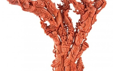 61015: A Large Chinese Carved Coral Figural Group on Wo