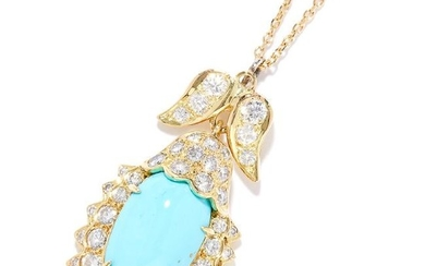 TURQUOISE AND DIAMOND PENDANT in 18ct yellow gold, set