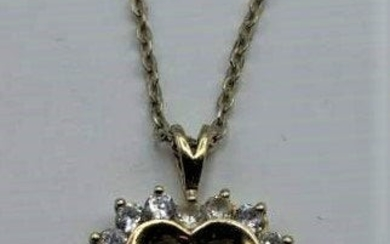 .925 Sterling Silver Heart and CZs Pendant Necklace