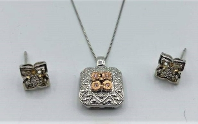 .925 Sterling Silver Pendant Necklace and Earrings