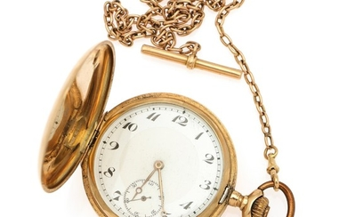 A 14k gold hunter case pocket watch. C. 1910–15. Total weight 81 g. Case diam. 51 mm.