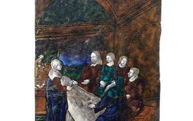 A 16th century Limoges enamel plaque depicting The Wedding Feast at Cana