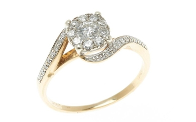 A 9CT GOLD DIAMOND CLUSTER RING; centring a cluster composed of a round brilliant cut diamond surrounded by 9 single cut diamonds be...