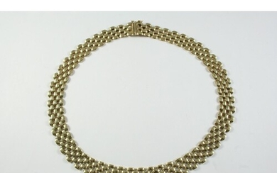A 9CT GOLD FANCY LINK COLLAR NECKLACE with concealed clasp, ...