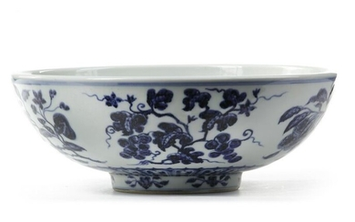 A CHINESE BLUE AND WHITE FRUIT BOWL, QING DYNASTY