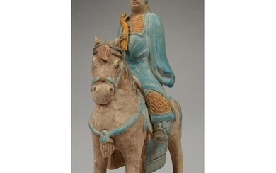 A CHINESE POTTERY FIGURE FUNERARY OF A MOUNTED ARCHER IN HAN...