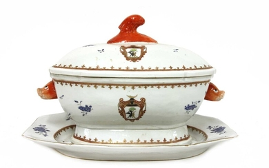 A Chinese armorial export blue and white soup tureen with cover and stand