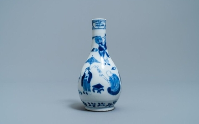A Chinese blue and white bottle vase, 19th C.