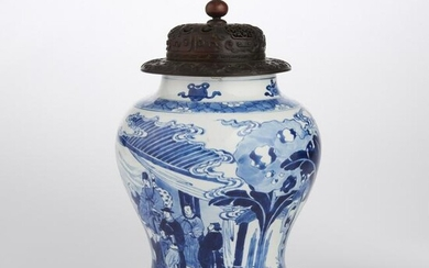 A Chinese blue and white porcelain ginger jar