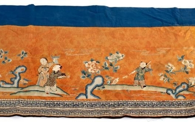 A Chinese embroidered altar cloth, 19th Century, depicting boys...